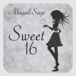 Personalised Girl and Hearts Sweet 16 Stickers