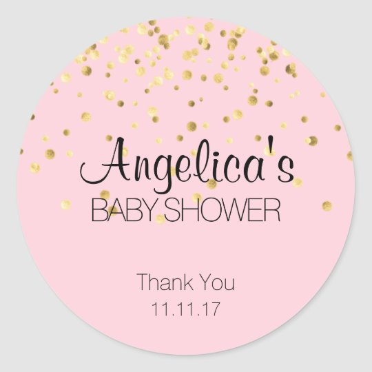 Baby Shower Stickers Labels Rose Gold Glitter Confetti Personalised GLOSSY