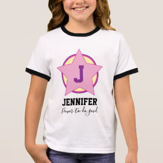 Personalised Girl Superhero with Initial and name Ringer T-Shirt