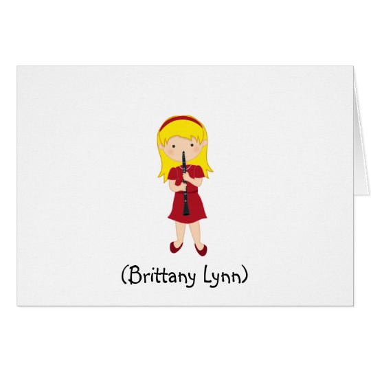Personalised Girls Stationery-Kid Playing Clarinet Card
