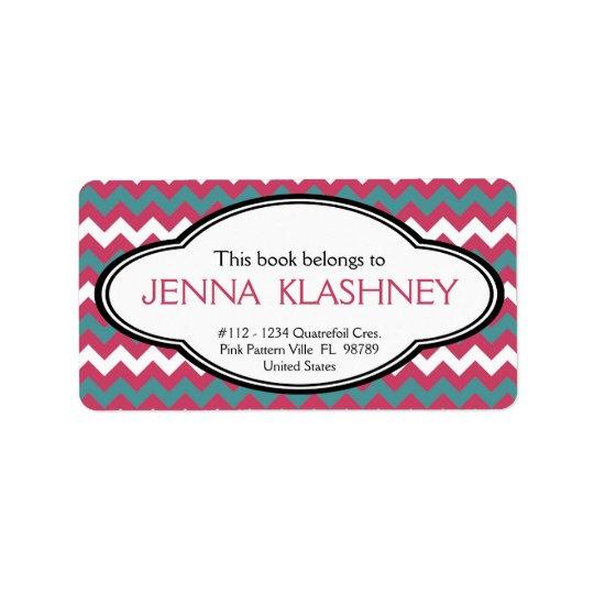 Personalised Girly Chevron Zig Zag Bookplate Address Label