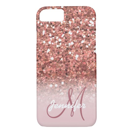 Personalised Girly Rose Gold Glitter Sparkles Name iPhone