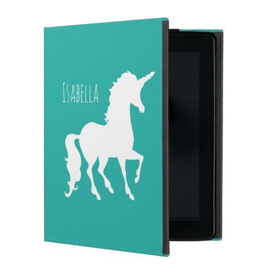 Personalised Girly Turquoise Green Unicorn Pretty iPad Folio