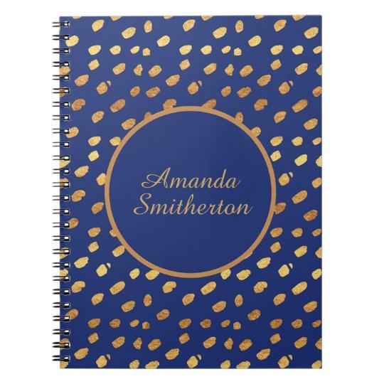 Personalised Glamourous Navy Blue Gold Monogram Notebook