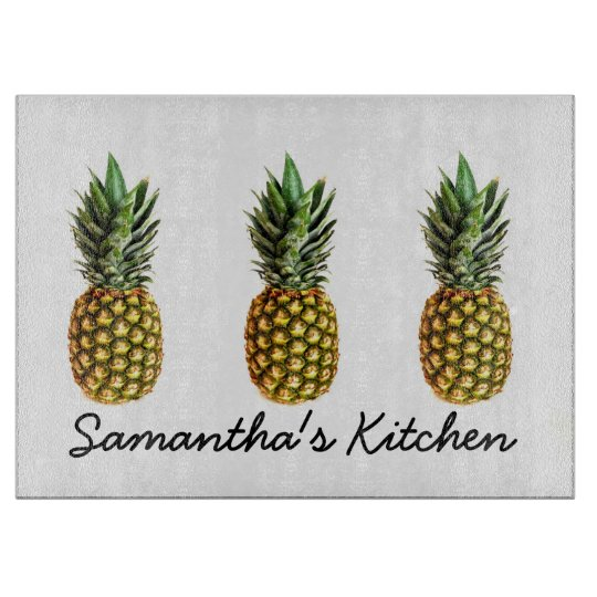 Personalised glass cutting board with pineapples