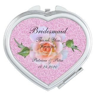 Personalised Glitter Bridesmaid Floral Compact Mirrors