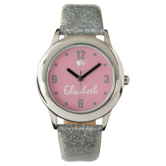 Personalised glitter pink and grey watch