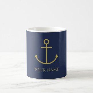 Personalised Gold Anchor Mug