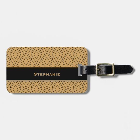 Personalised Gold and Black Art Deco Pattern Luggage Tag