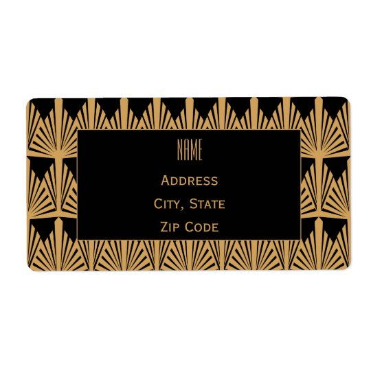 Personalised Gold and Black Art Deco Pattern Shipping Label