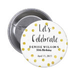 Personalised Gold Confetti Celebration Favour 6 Cm Round Badge