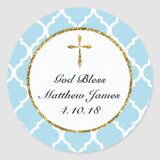 Personalised Gold Cross Religous Favour Tag, Blue Round Sticker