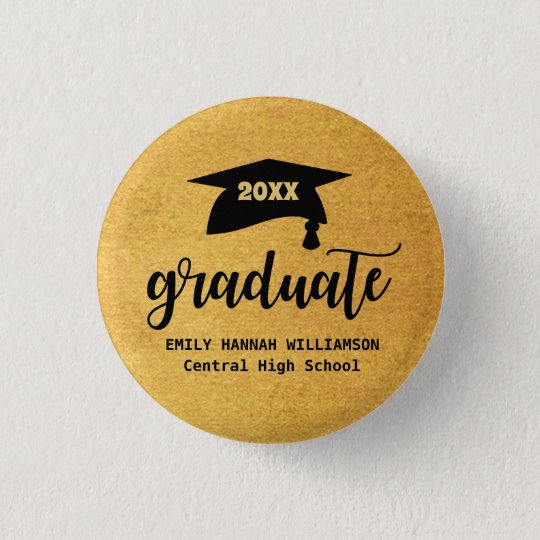 Personalised Gold Graduation Mortar Board 3 Cm Round Badge