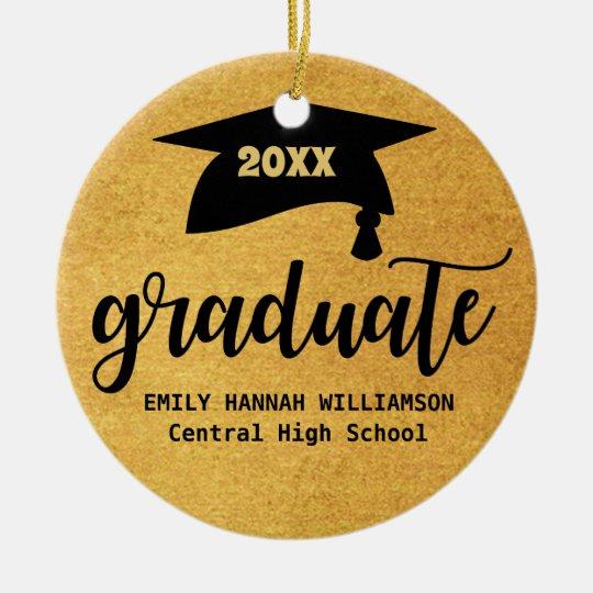 Personalised Gold Graduation Mortar Board Christmas Ornament