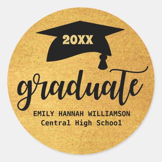 Personalised Gold Graduation Mortar Board Classic Round Sticker