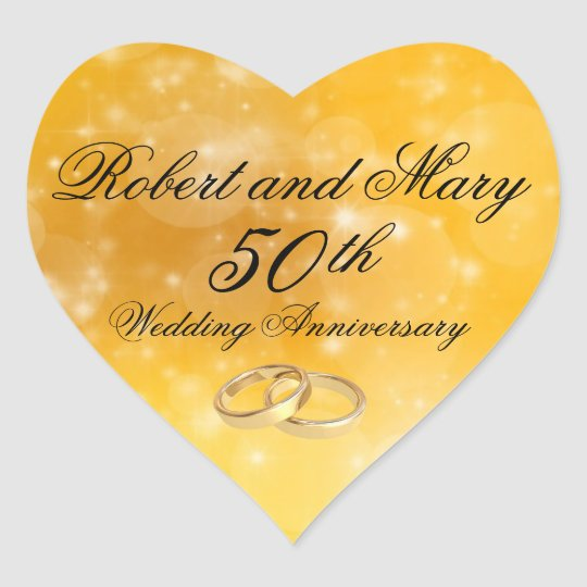 Personalised Gold Heart 50th Anniversary Sticker