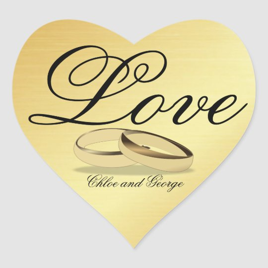Personalised Gold Heart Sticker Love Wedding Rings