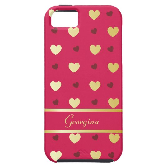 Personalised Gold Hearts on Cerise Case For The iPhone 5