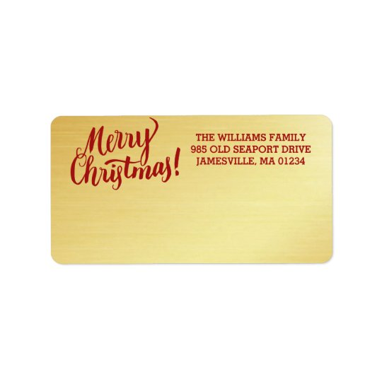 Personalised Gold Merry Christmas Mailing Label
