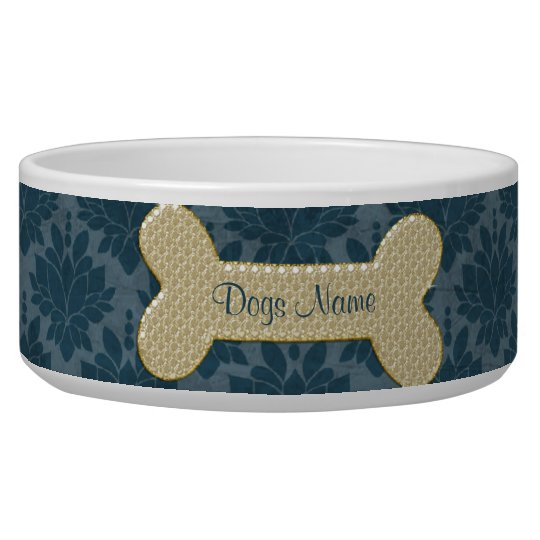 Personalised gold shiny dog bone pet food bowl