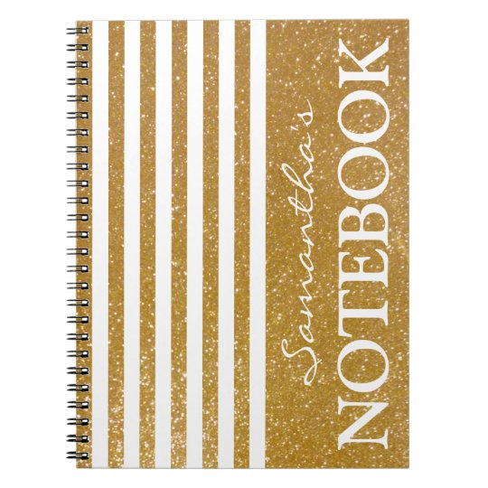 Personalised gold striped spiral notebook journal