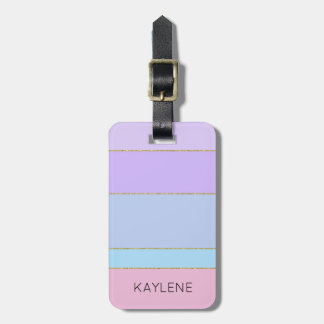 Personalised Gold Trim Colour Stripes Luggage Tag