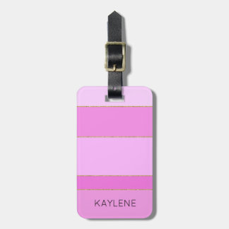Personalised Gold Trim Pink Stripes Luggage Tag