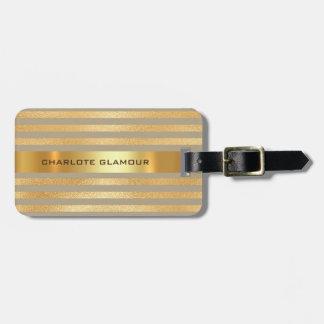Personalised Golden Beige Stripes Minimalism Luggage Tag
