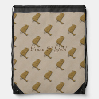 Personalised Golden Bird Linen Texture Bag