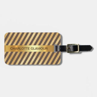 Personalised Golden Brown Stripes Minimalism Bag Tag