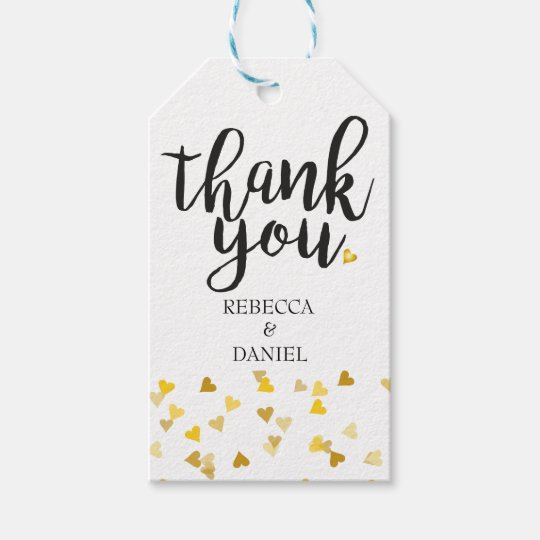 Personalised Golden Hearts Confetti Thank You Gift Tags