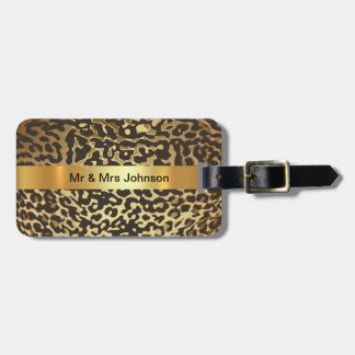 Personalised Golden Leopard Skin Luggage leather Luggage Tag