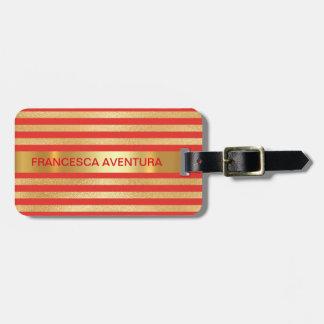 Personalised Golden Red Stripes Minimalism Bag Tag