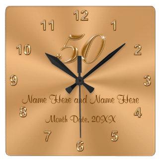 Personalised Golden Wedding Anniversary Gift Clock