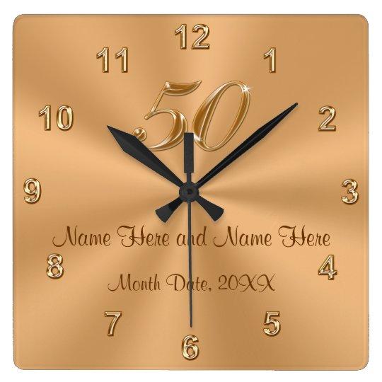 personalised golden wedding anniversary gift clock. Black Bedroom Furniture Sets. Home Design Ideas