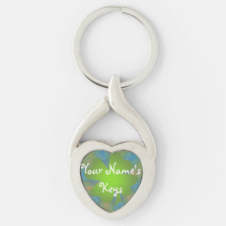 Personalised Good Luck Twisted Heart Keychain Silver-Colored Twisted Heart Key Ring