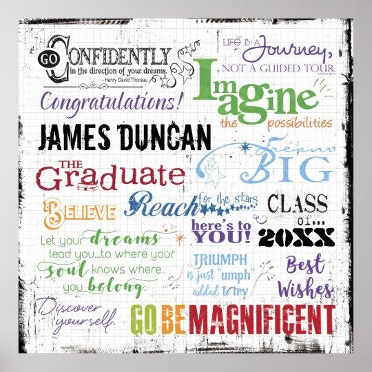 Personalised Graduation Word Art Poster