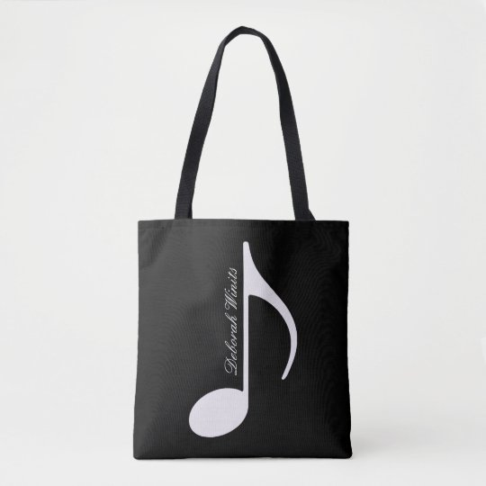 personalised graphic musical note tote with name
