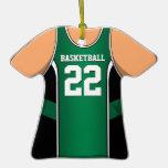 Personalised Green/Black Basketball Jersey 22 V1 Christmas Ornament