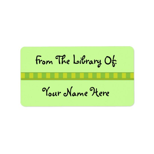 Personalised Green Bookplate Library Stickers Address Label
