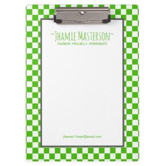 Personalised Green Chequered Clipboards