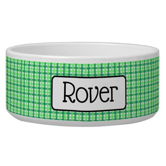 Personalised Green Chequered Dog Bowl