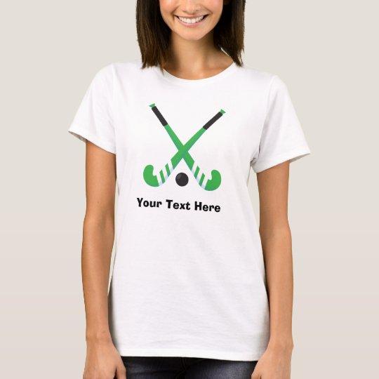 Personalised Green Field Hockey Player T-Shirt