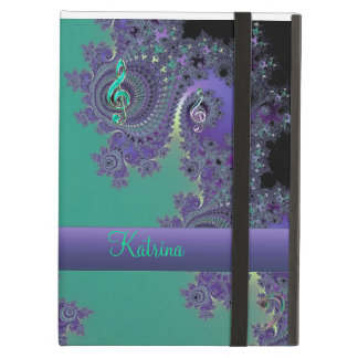 Personalised Green Purple Music Fractal iPad Case