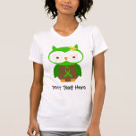 Personalised Green Ribbon Owl T Shirt