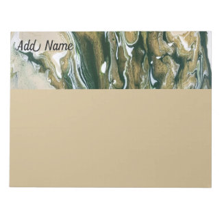 Personalised Green & Tan Abstract Large Notepad
