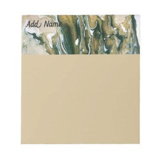 Personalised Green & Tan Abstract Small Notepad