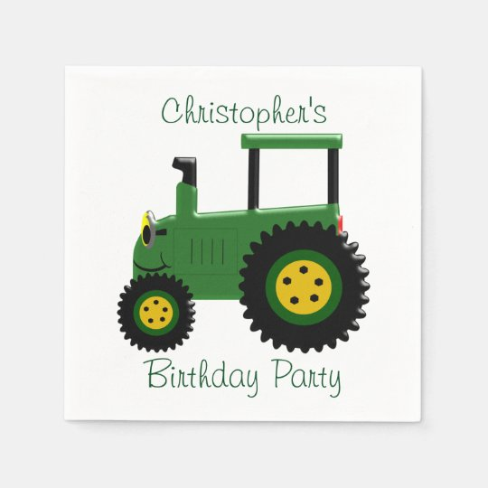 Personalised Green Tractor Birthday Paper Serviettes