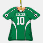 Personalised Green/White Soccer Jersey 10 V1 Christmas Tree Ornament