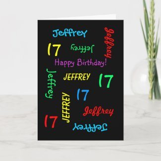 Personalised Greeting Card, 17th Birthday Card